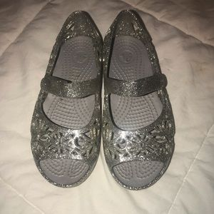 Silver Glitter Crocs girls 10